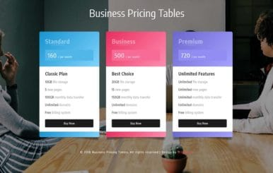 Business Pricing Tables Responsive Widget Template