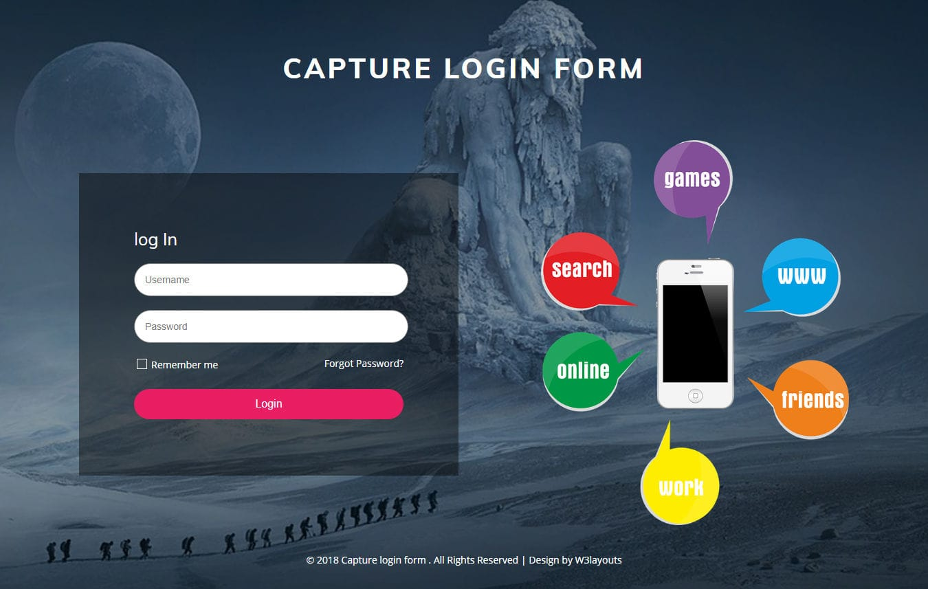 Capture Login Form Responsive Widget Template