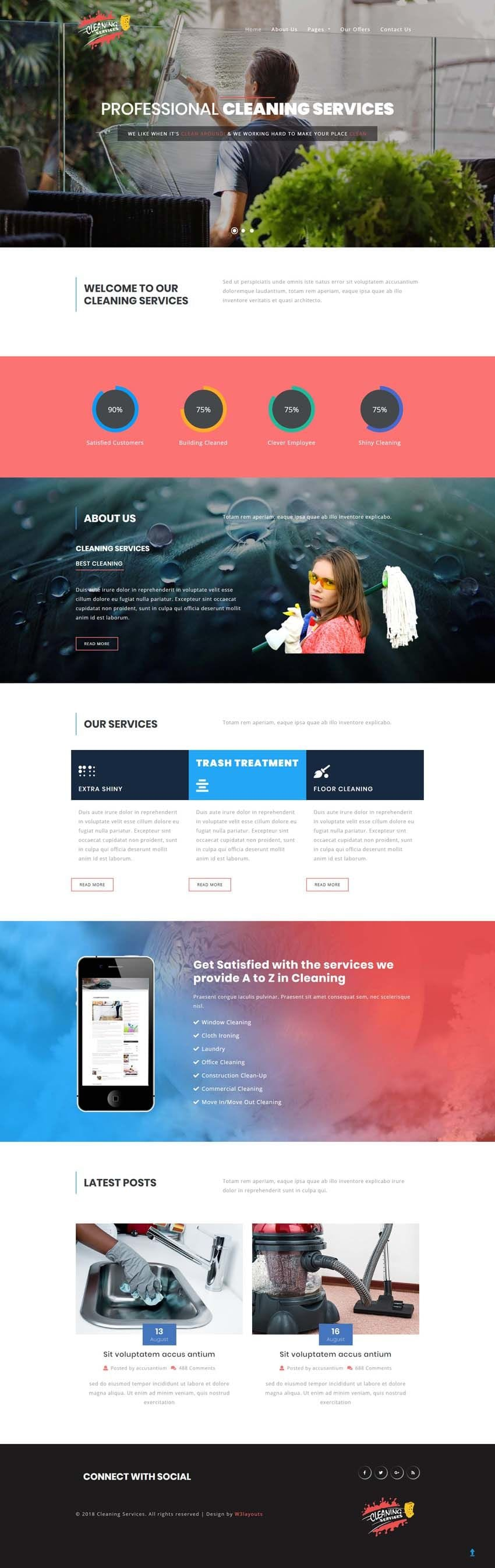 Download Cleaning Services template for free. This house keeping website template has been built with HTML & CSS and is perfect for service websites.