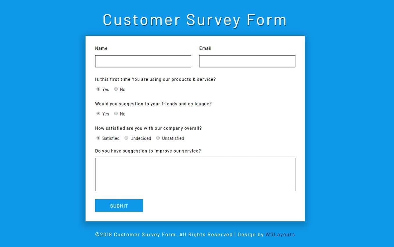 Customer Survey Form a Flat Responsive Widget Template