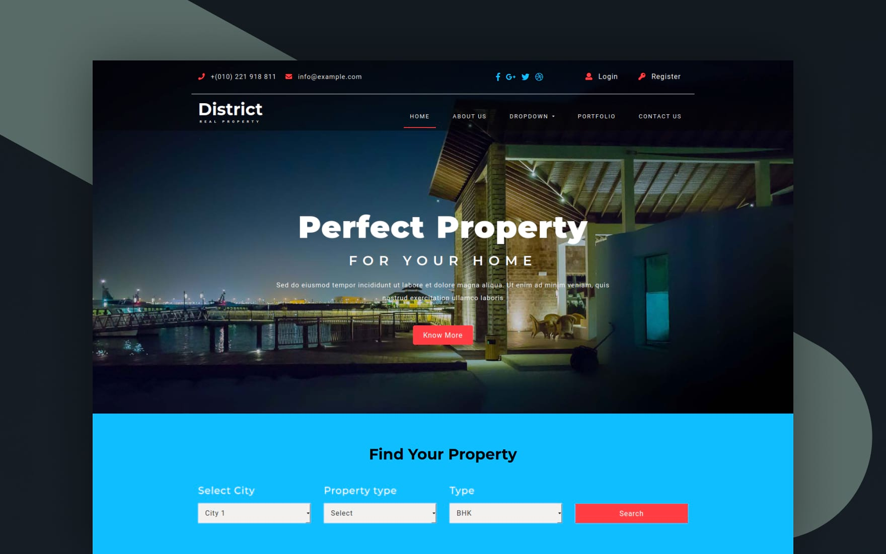 District – Real Estates Category Bootstrap Responsive Web Template