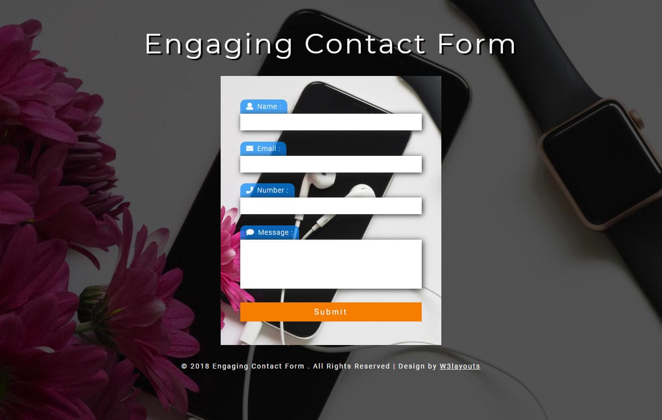 Engaging Contact Form Responsive Widget Template