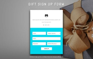 Gift Sign up Form Flat Responsive Widget Template