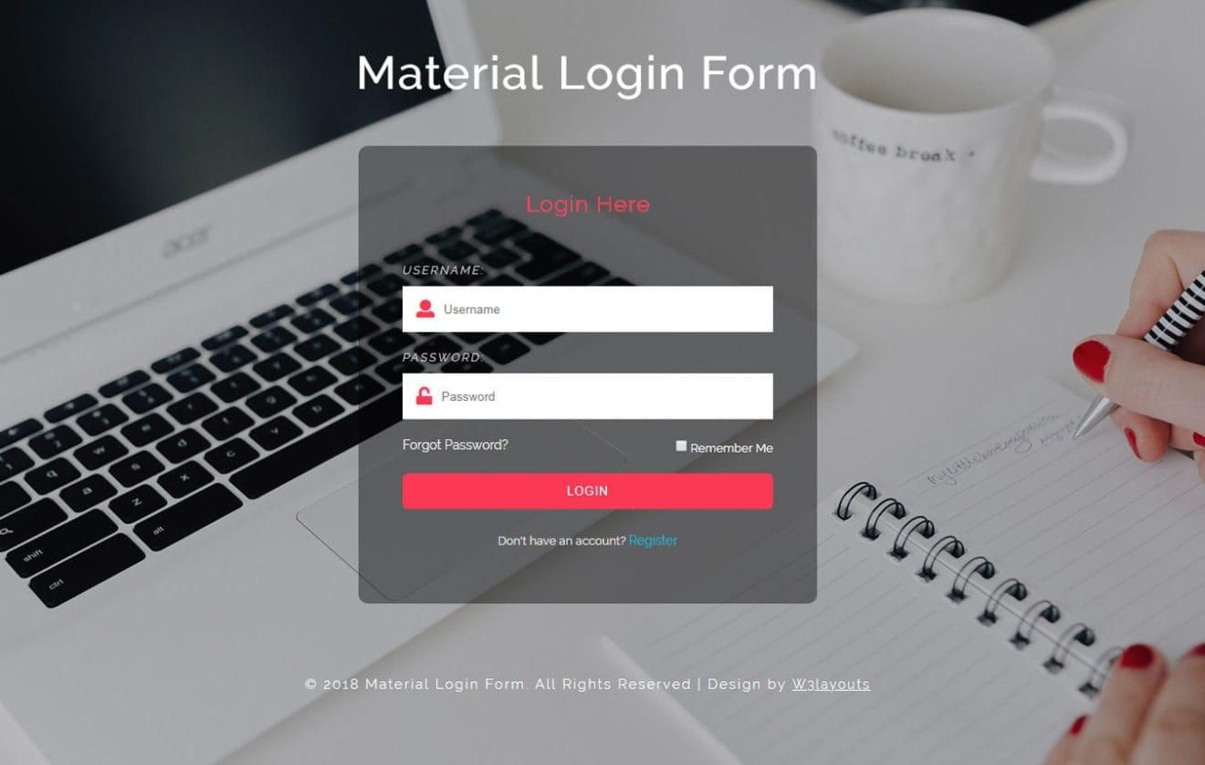 Material login form Responsive Widget Template
