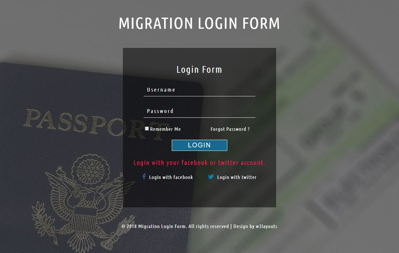 Migration Login Form Responsive Widget Template