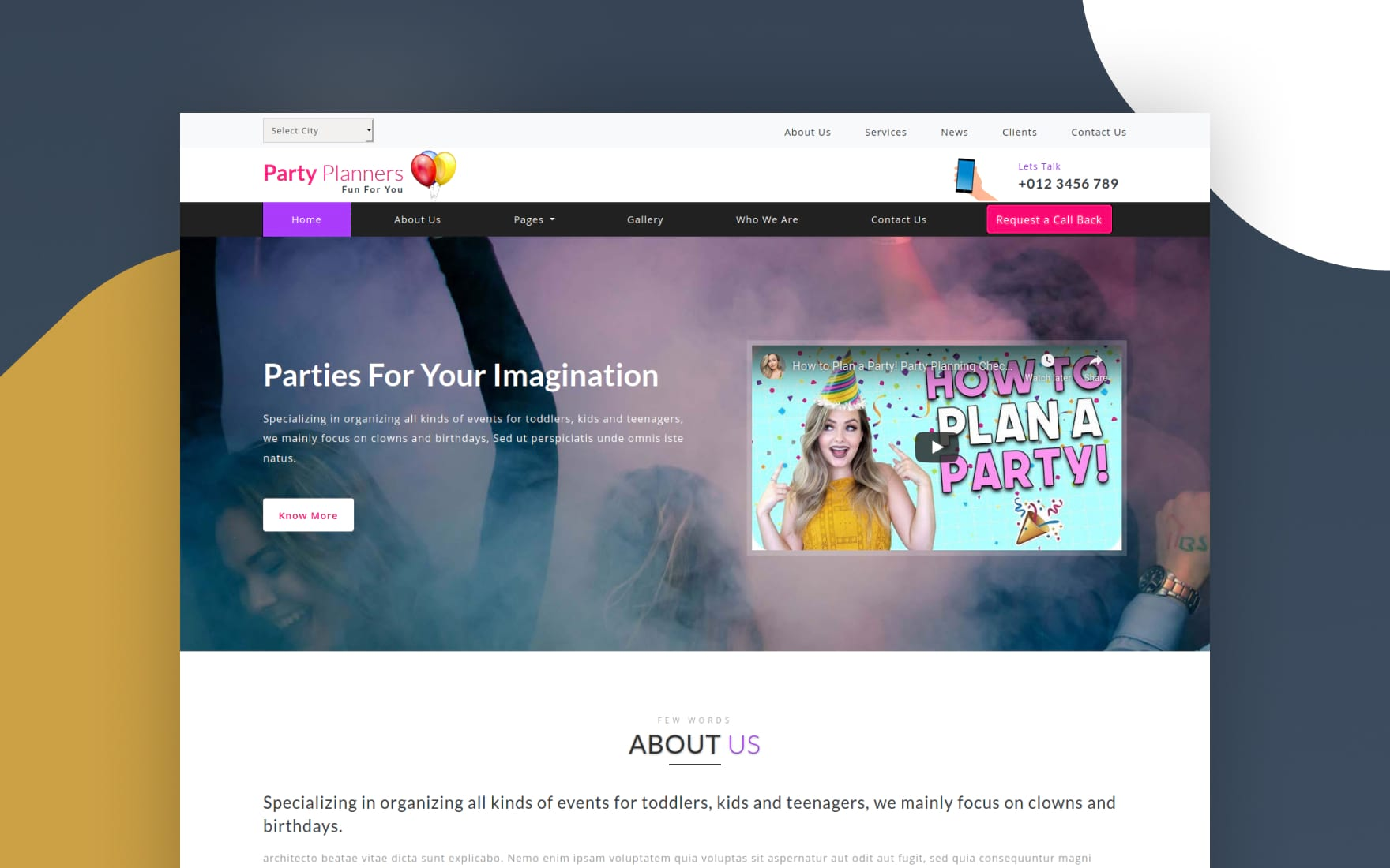 Party Planners Entertainment Category Bootstrap Responsive Web Template.