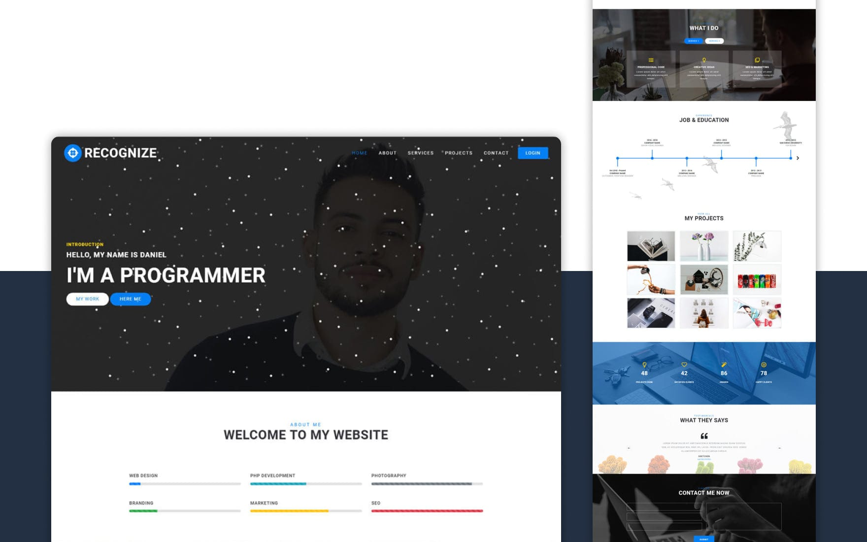 Recognize Personal Category Bootstrap Responsive Web Template.