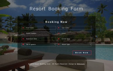 Resort Booking Form Flat Responsive Widget Template