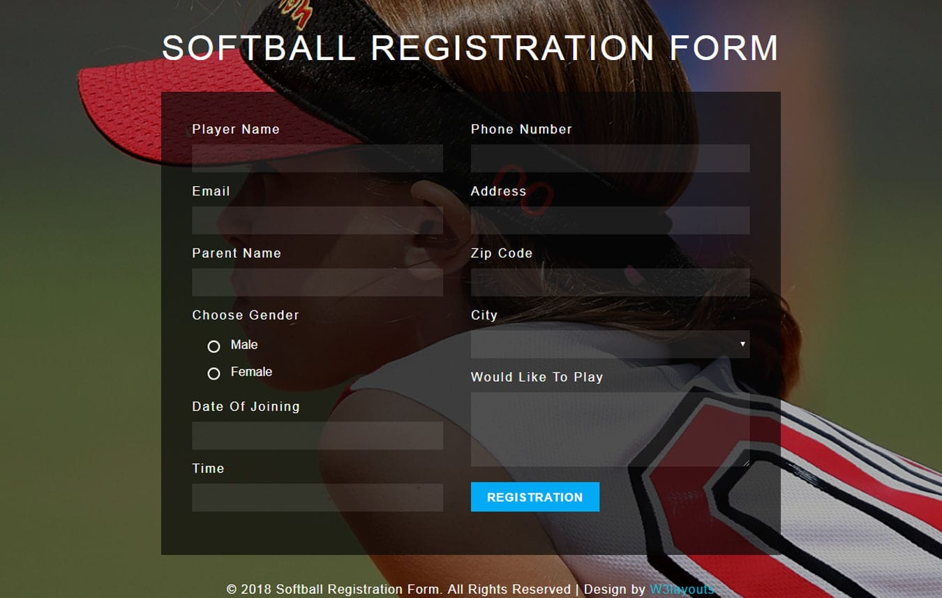 Softball Registration Form Flat Responsive Widget Template