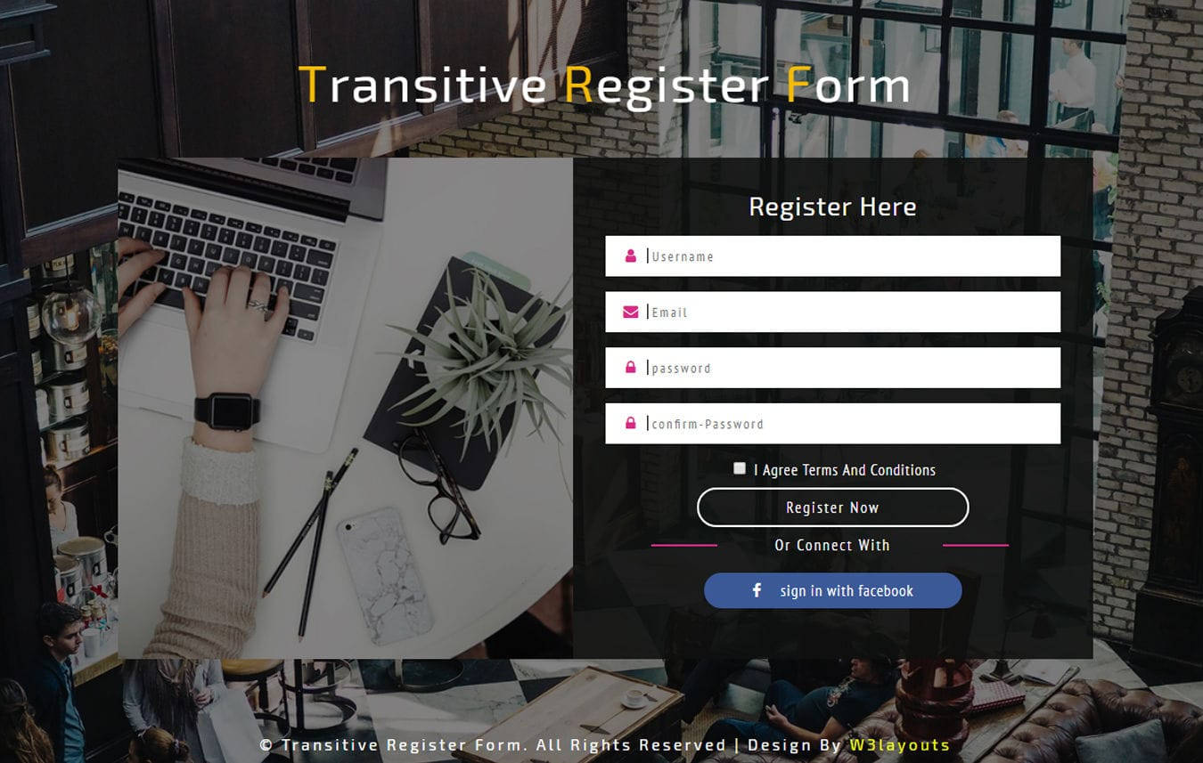 Transitive Register Form Responsive Widget Template