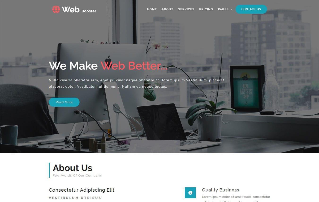 Web Booster Corporate Category Bootstrap Responsive Web Template.