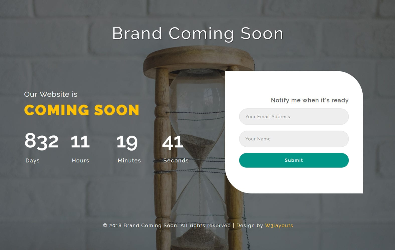 Brand Coming Soon Flat Responsive Widget Template.