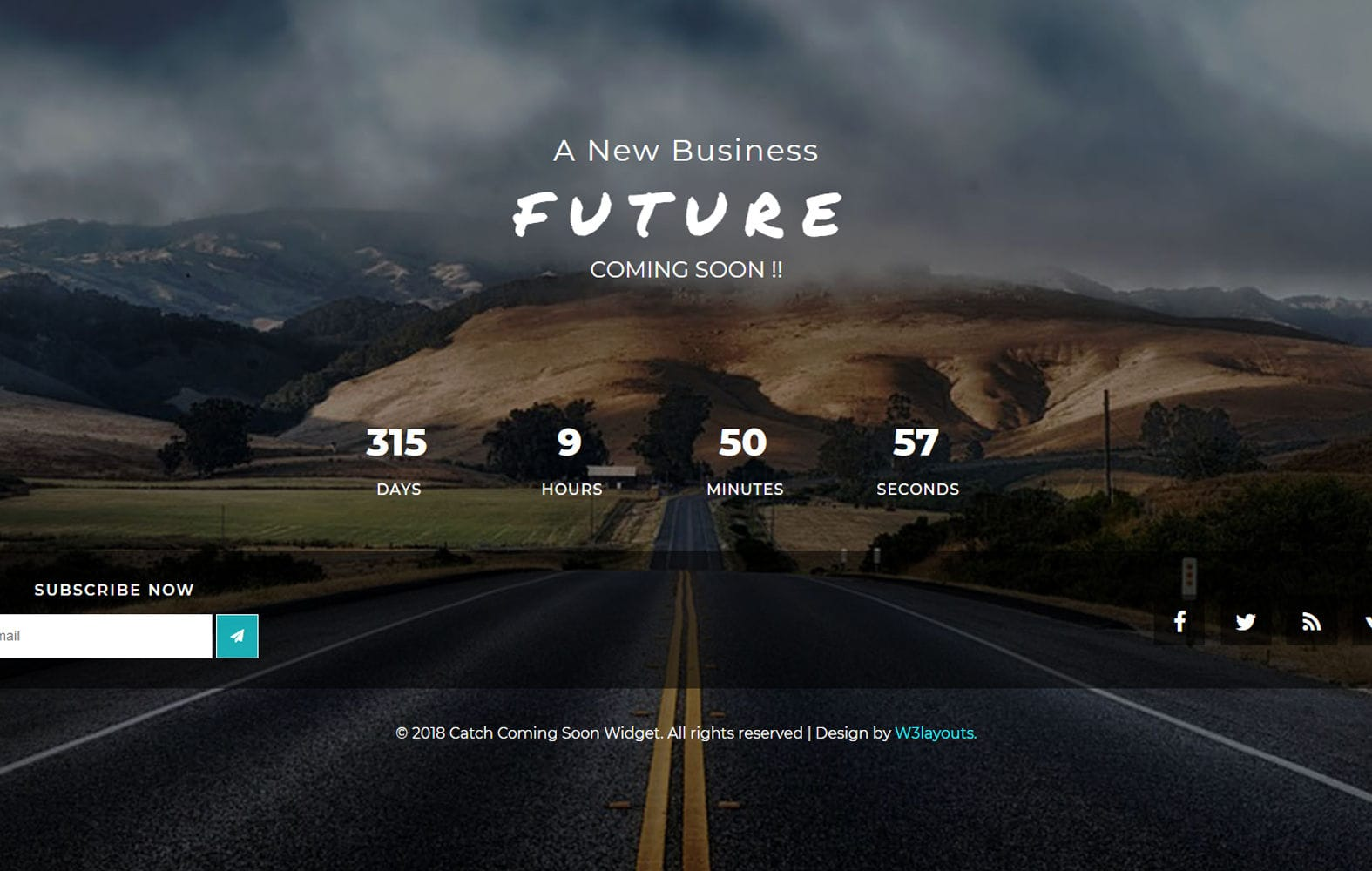 Catch Coming Soon Flat Responsive Widget Template