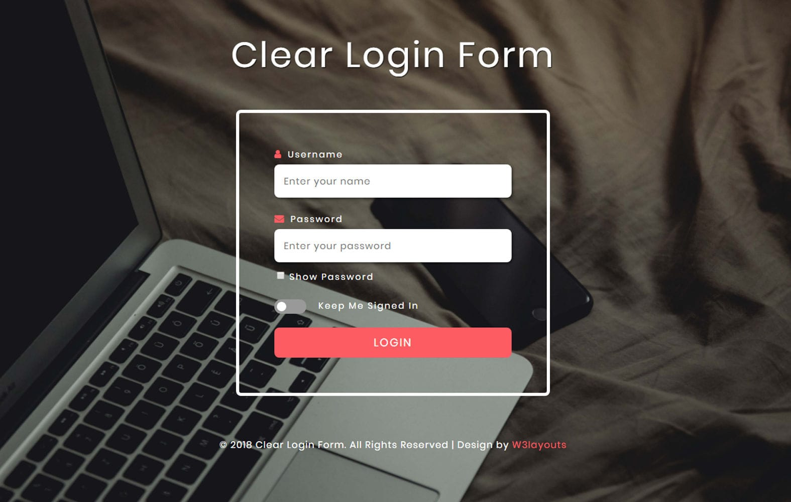 Clear Login Form Flat Responsive Widget Template.