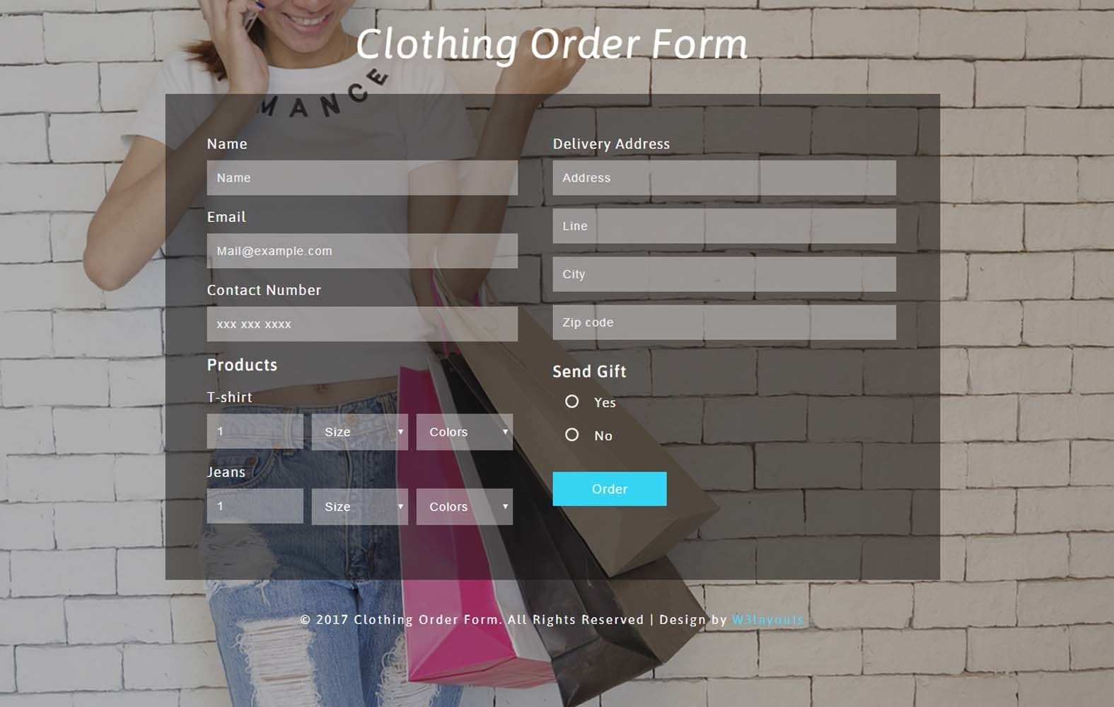 Clothing Order Form Responsive Widget Template