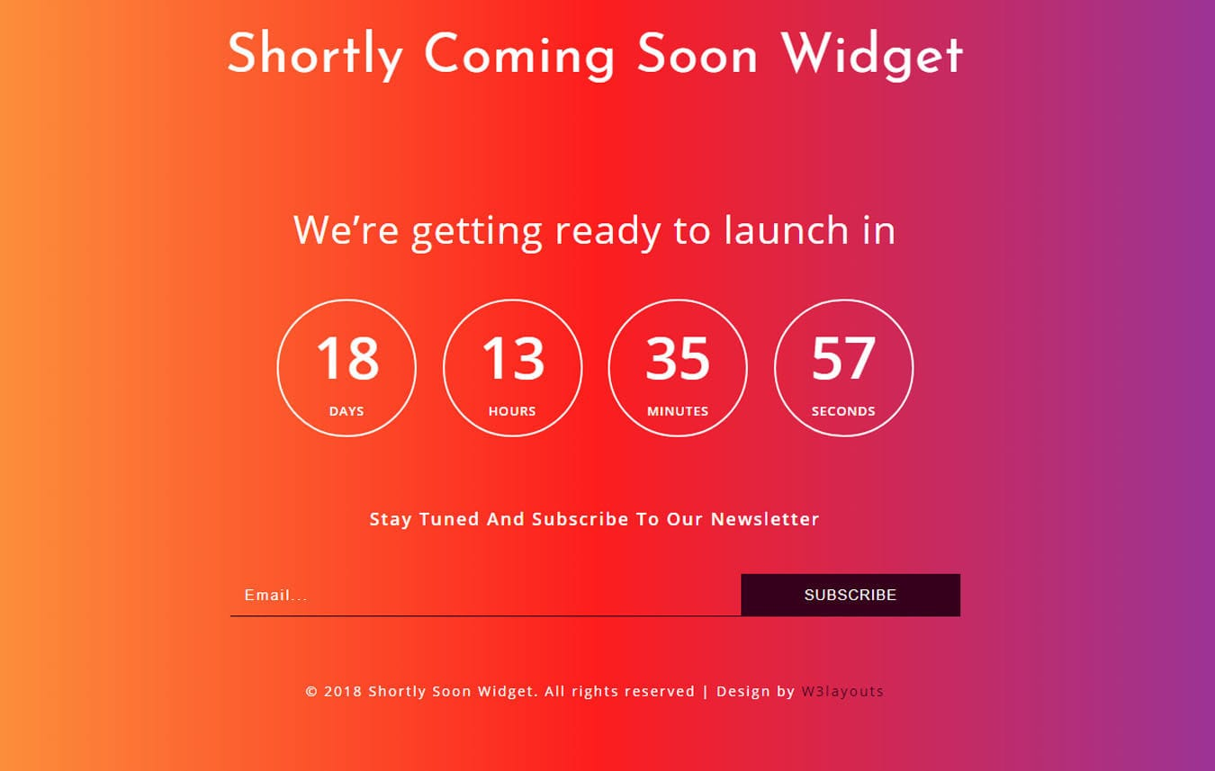 Shortly Coming Soon Widget Responsive Widget Template.