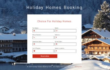 Holiday Homes Booking Form Responsive Widget Template.