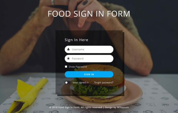 Food Signin form