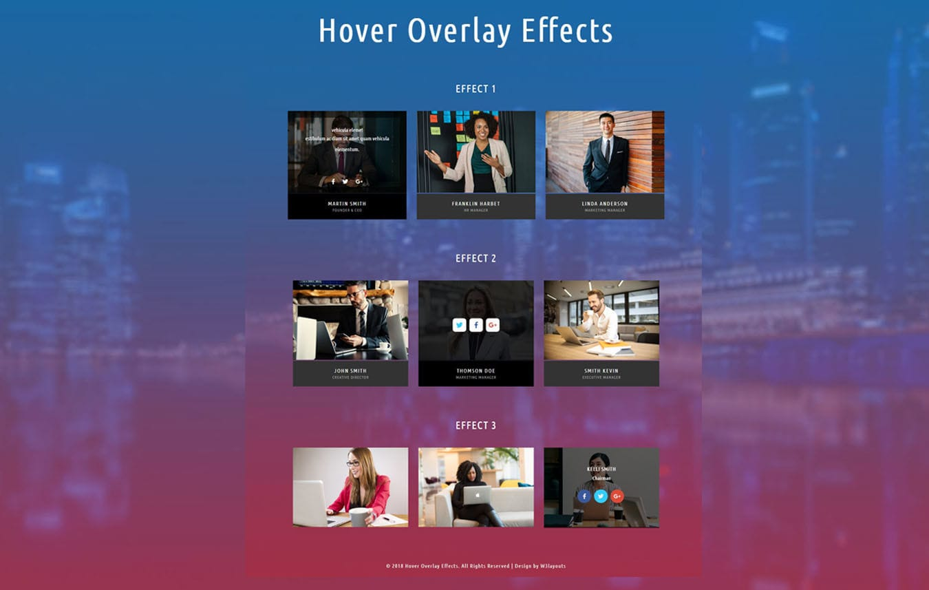 Hover Overlay Effects Flat Responsive Widget Template