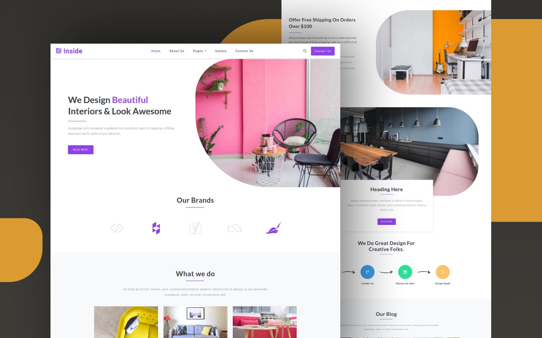 Inside Interior Category Bootstrap Responsive Website Template.