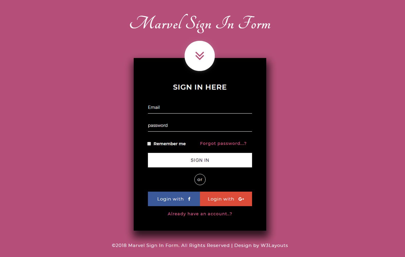 Marvel Sign in Form a Flat Responsive Widget Template