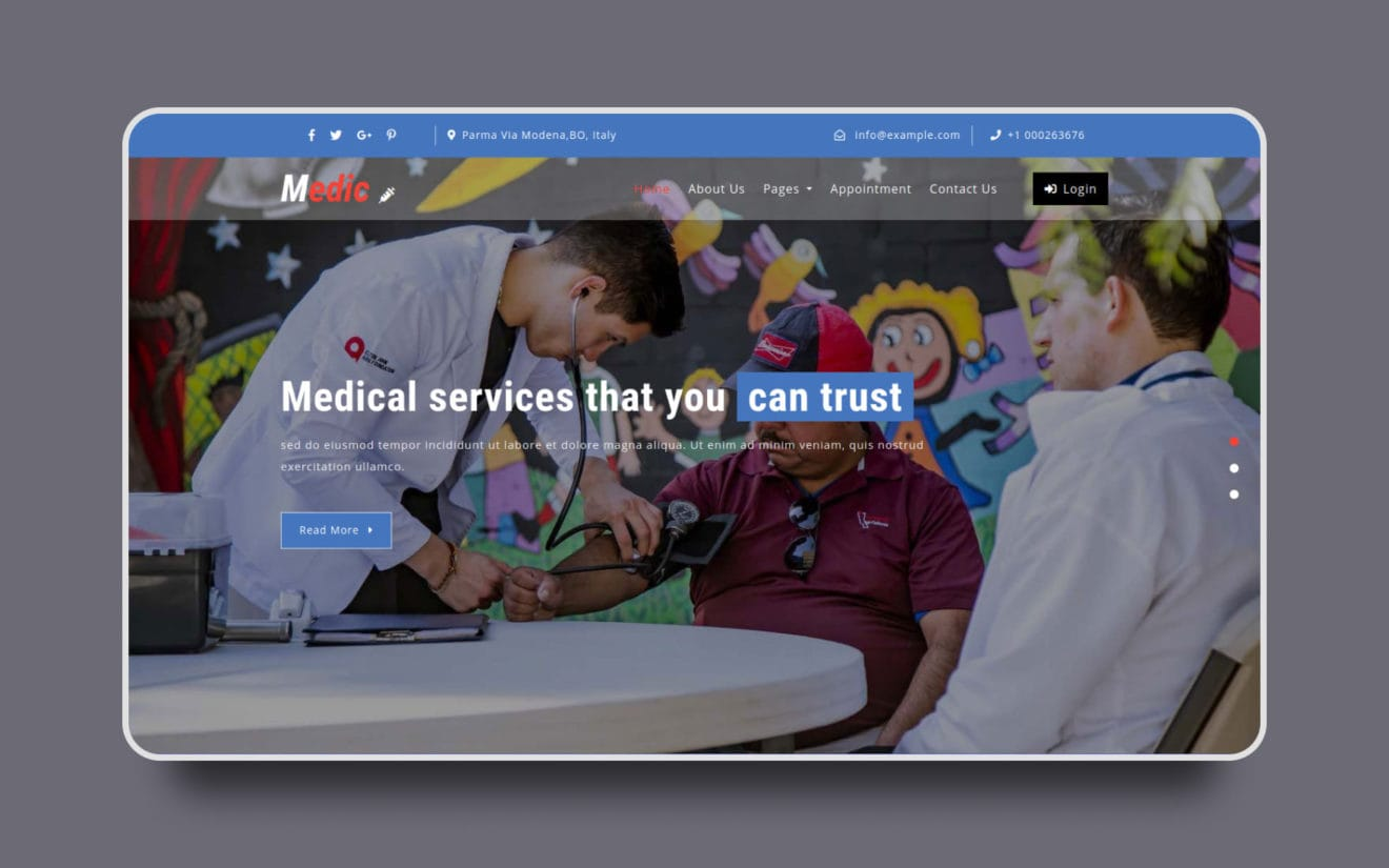 Medic Medical Category Bootstrap Responsive Web Template.