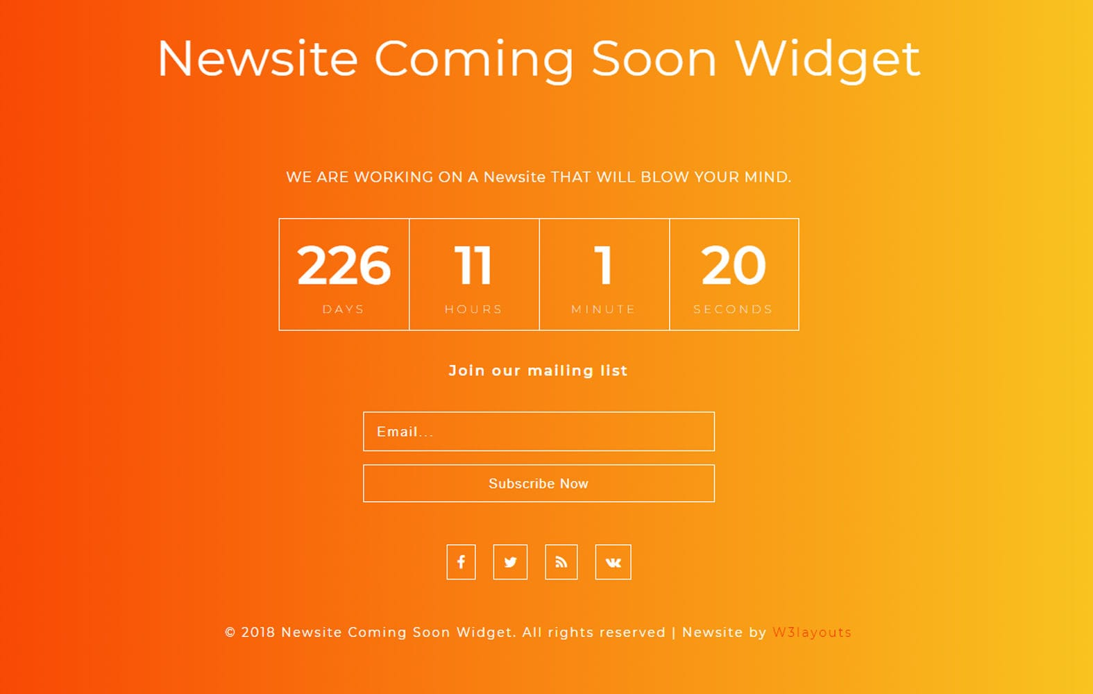 Newsite Coming Soon Widget Responsive Widget Template.