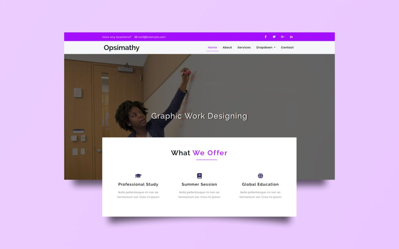 Opsimathy Education Category Bootstrap Responsive Web Template.