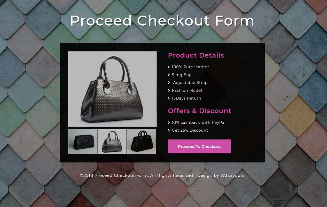 Proceed Checkout Form Responsive Widget Template