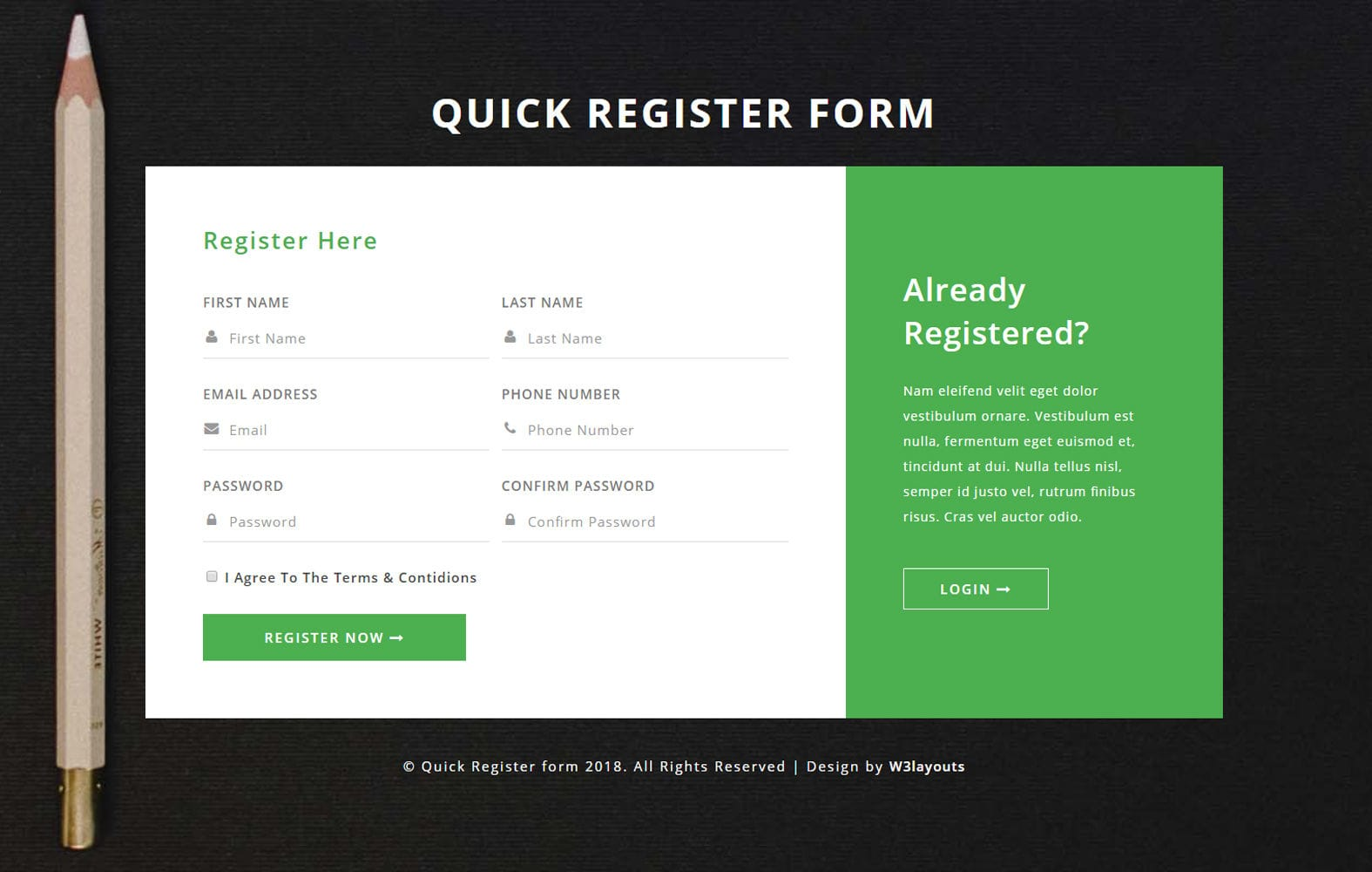 Quick Register Form Flat Responsive Widget Template.