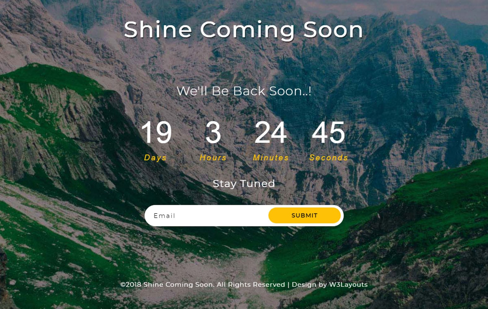 Shine Coming Soon a Flat Responsive Widget Template