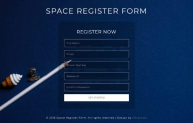 Space Register Form Flat Responsive Widget Template