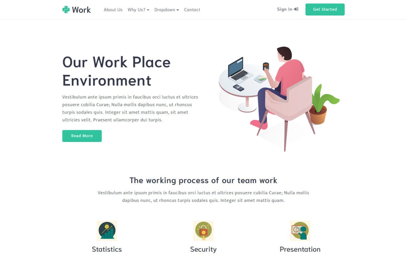 Work a Business Category Bootstrap Responsive Web Template