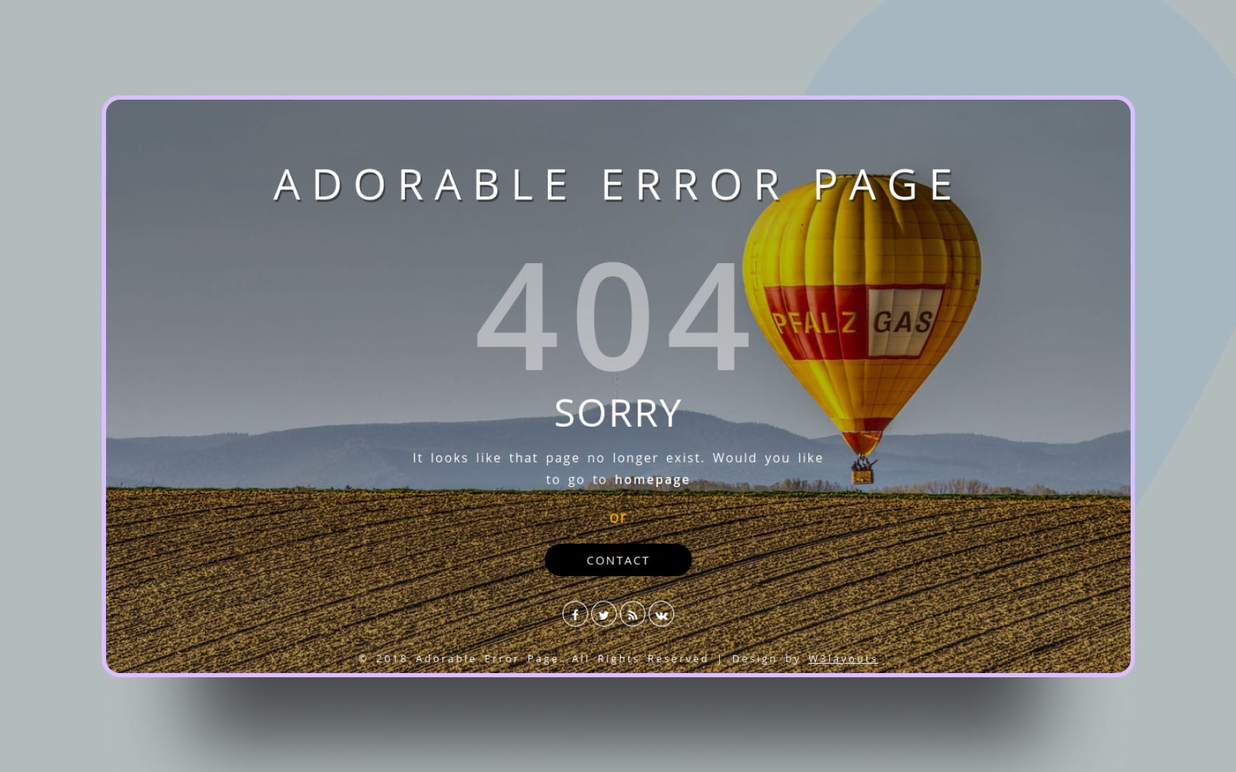 Adorable Error Page Flat Responsive Widget Template