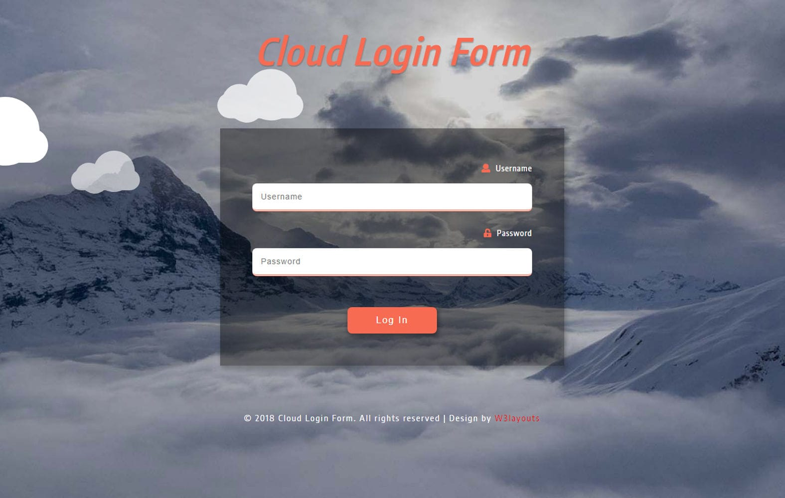 Cloud Login Form Responsive Widget Template