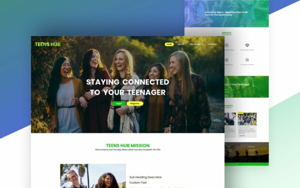 teen hub social and people website template