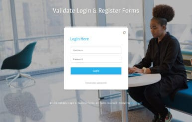Validate Login & Register Forms Flat Responsive Widget Template