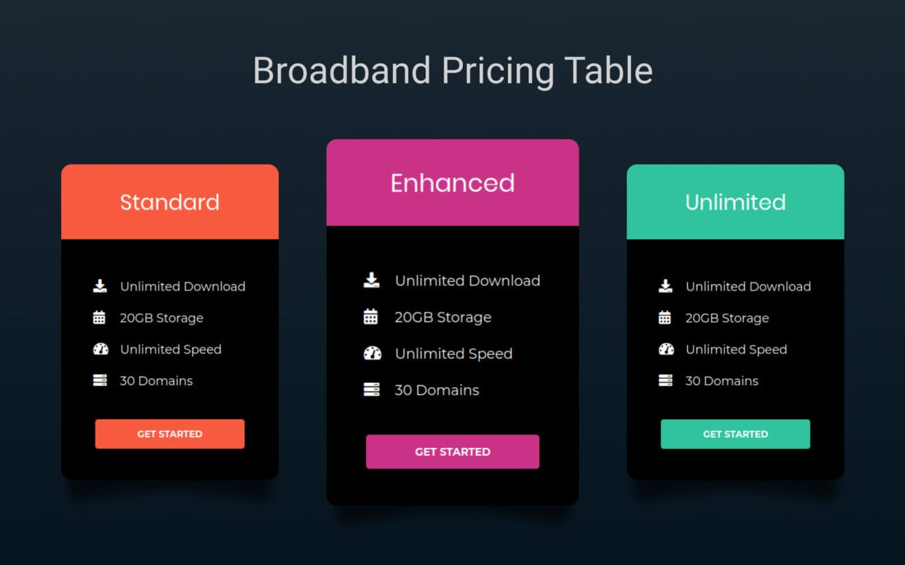 Broad Band Pricing Table Responsive Widget Template.