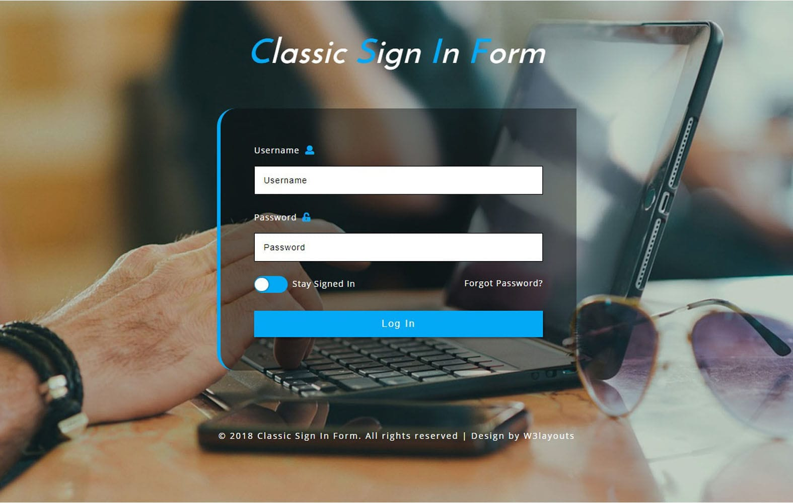 Classic Sign In Form Responsive Widget Template