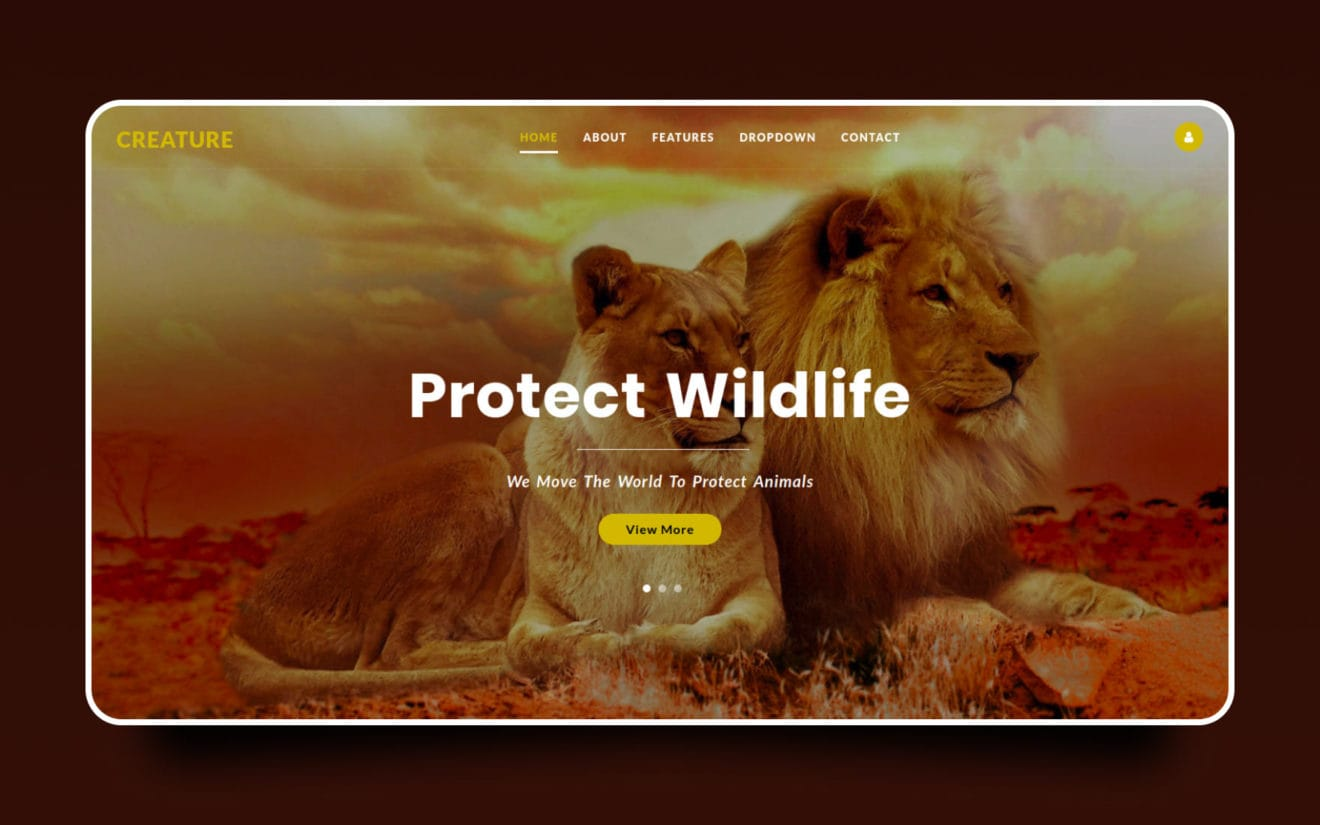 Creature – Animals Category Bootstrap Web Template