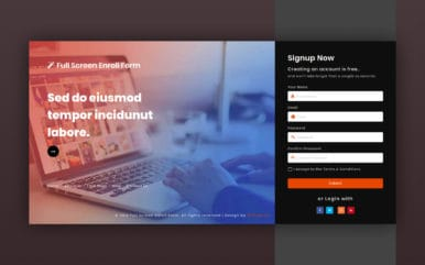 Full Screen Enroll Form Responsive Widget Template.