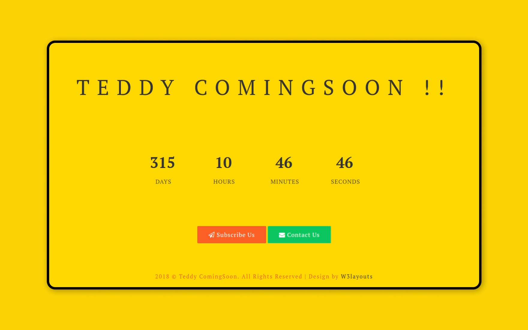 Teddy Coming Soon Flat Responsive Widget Template