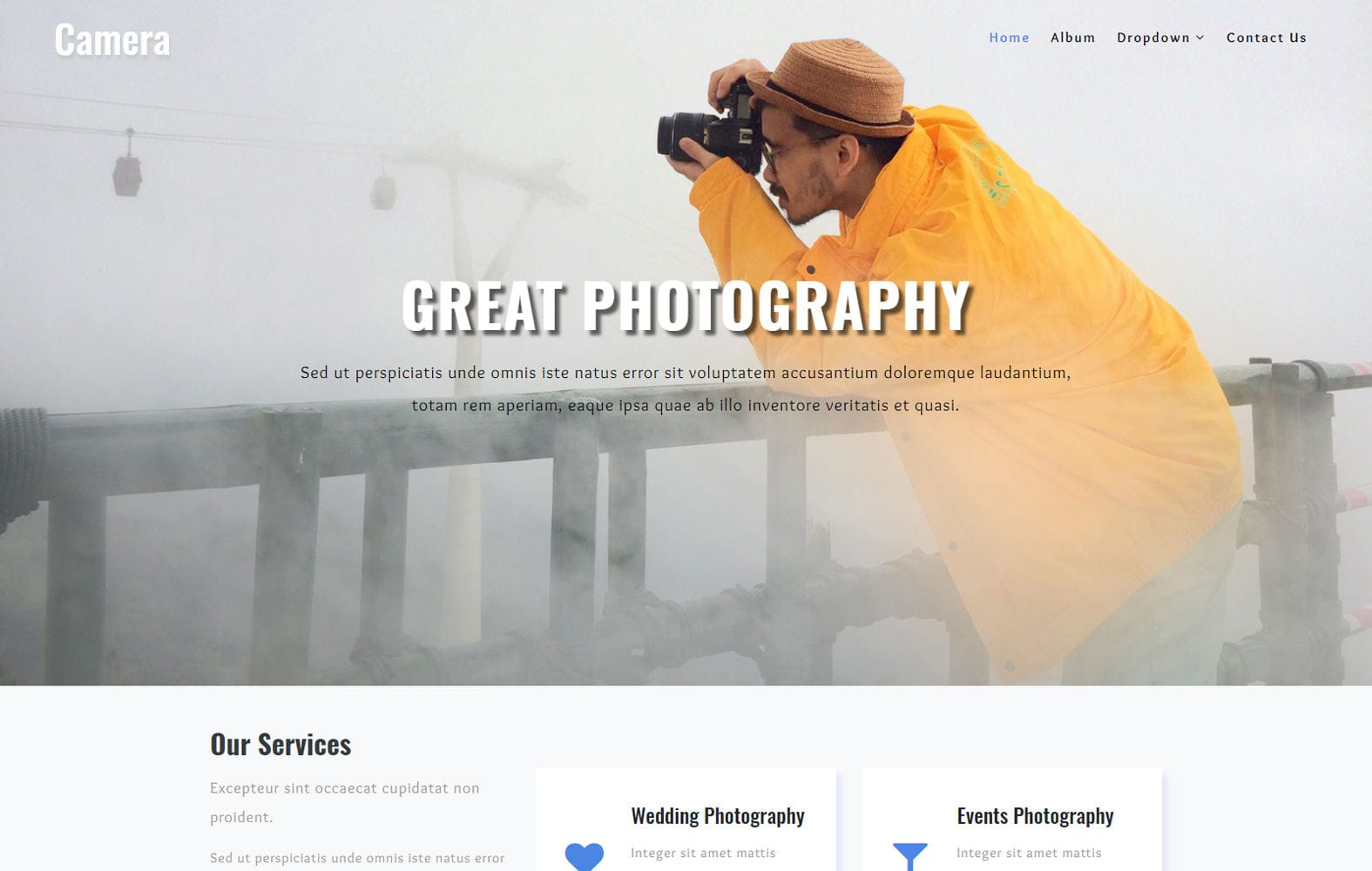 Camera a Photo Gallery Category Bootstrap Responsive Web Template