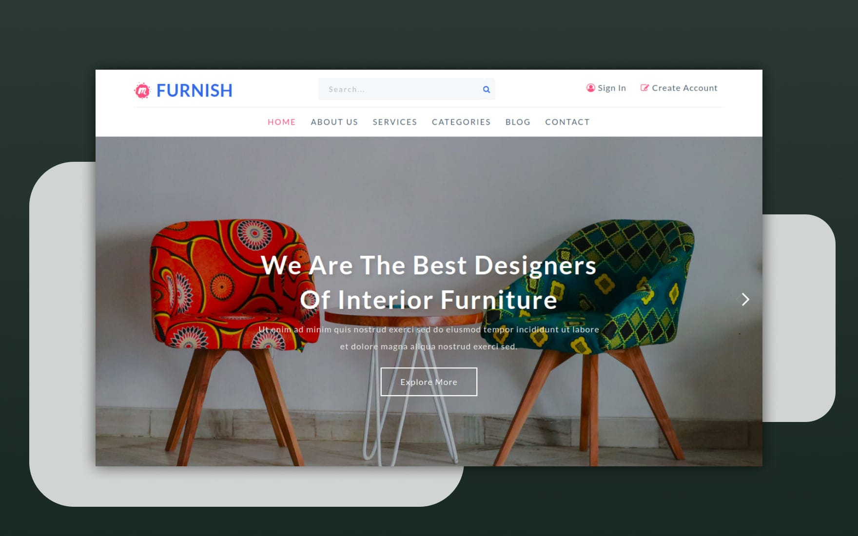 Furnish an Interior Category Bootstrap Responsive Web Template