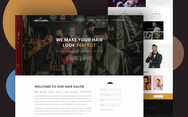 men's saloon website template