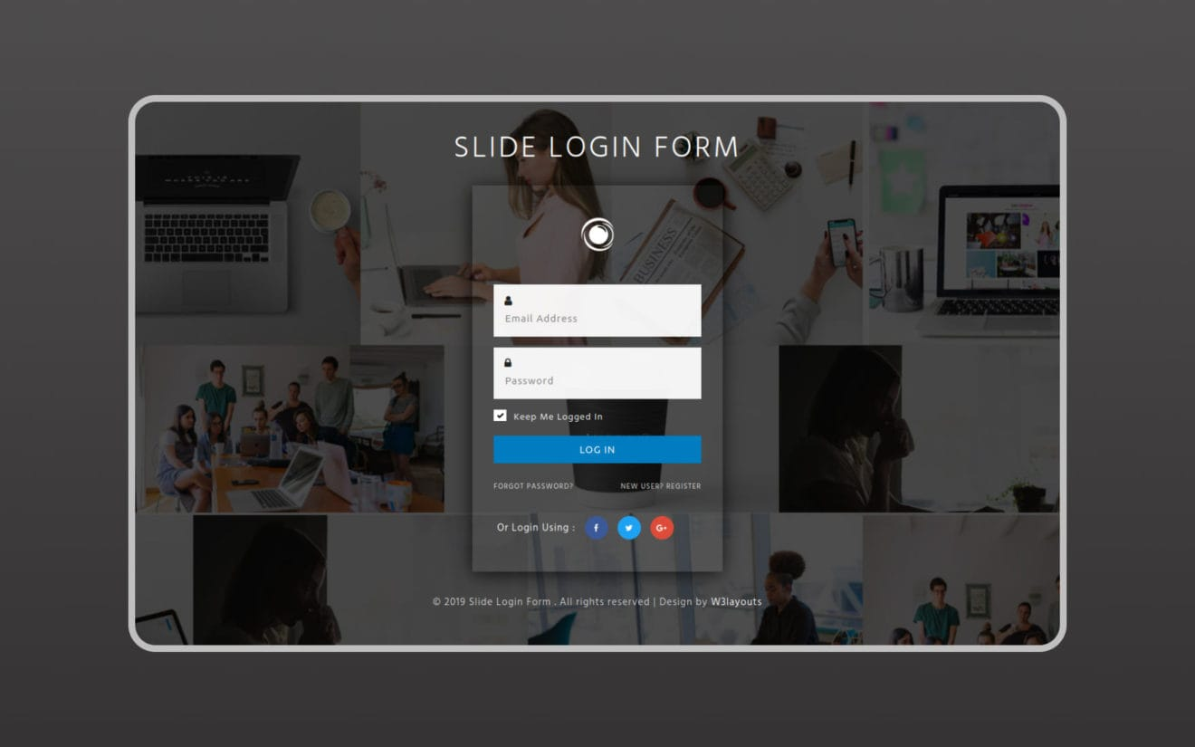 Slide Login Form Flat Responsive Widget Template
