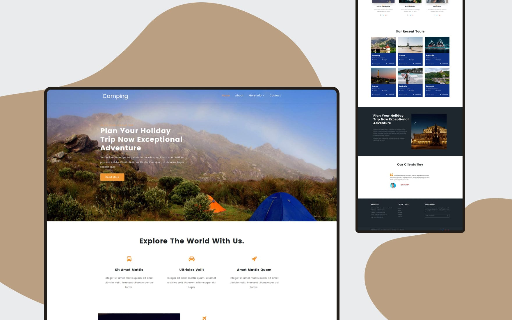 Camping a Travel Category Bootstrap Responsive Web Template
