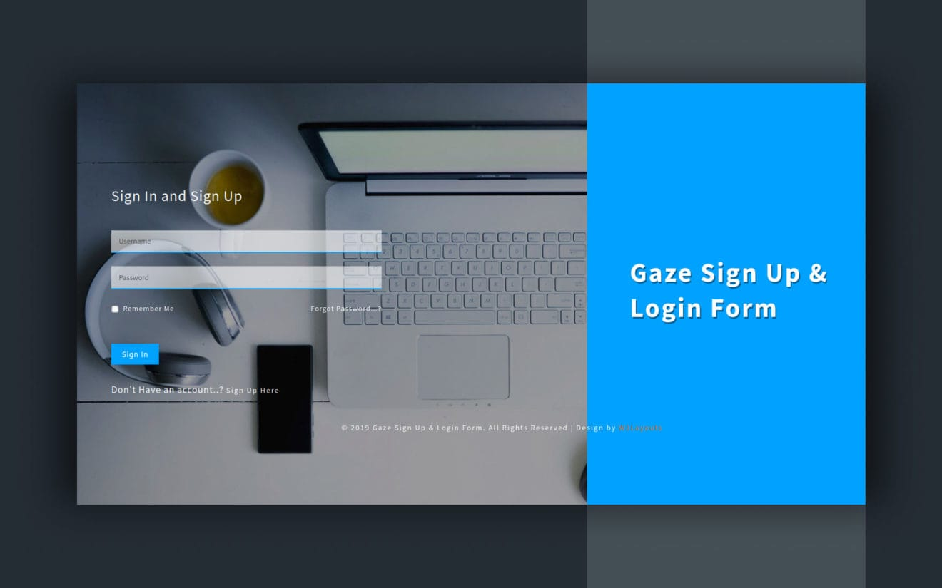 Gaze Sign up and Login Form a Flat Responsive Widget Template