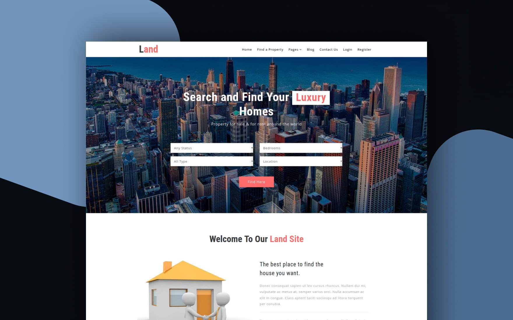 Land a Real Estate Category Bootstrap Responsive Web Template