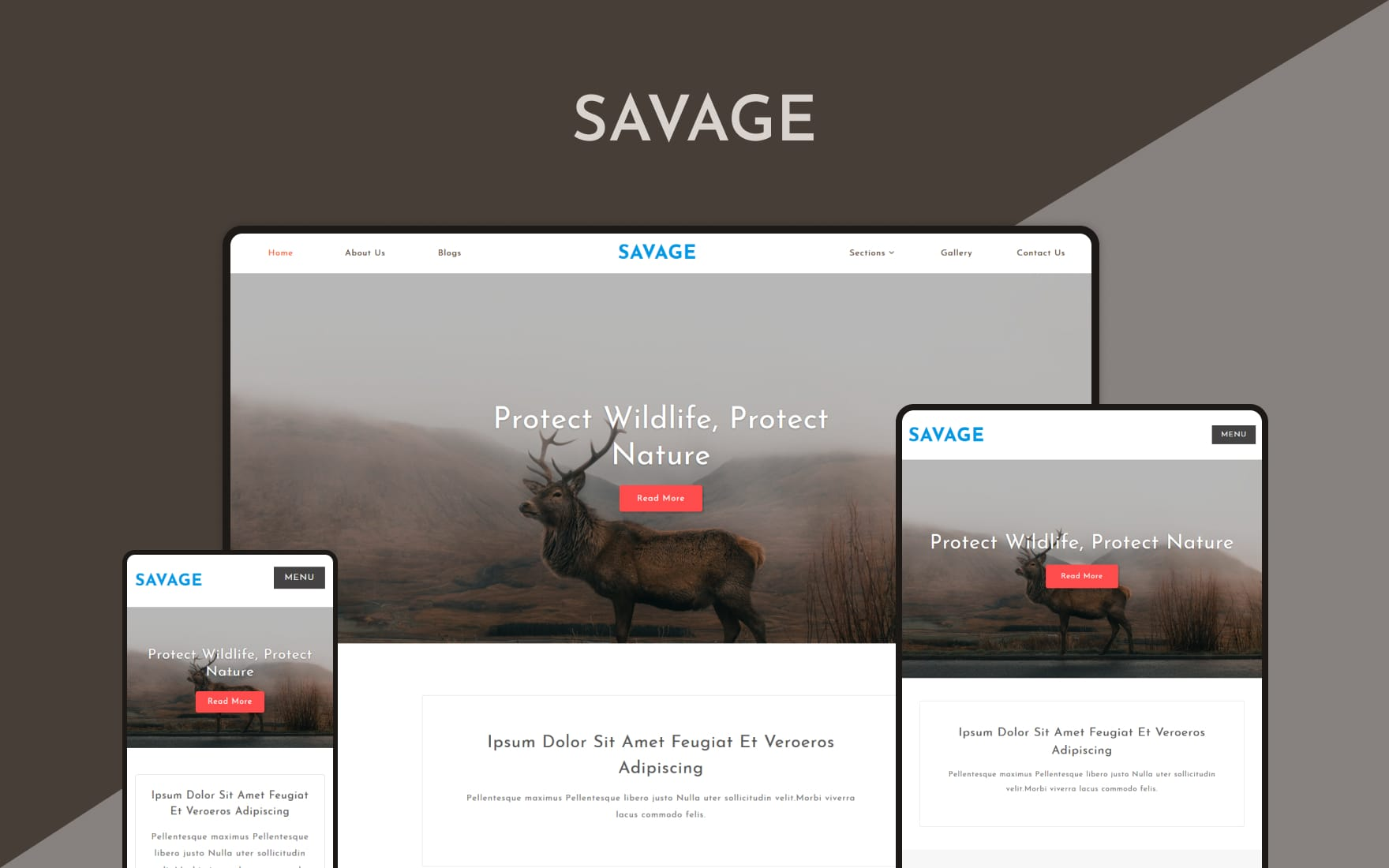 Savage – Animals & Pets Category Bootstrap Responsive Web Template